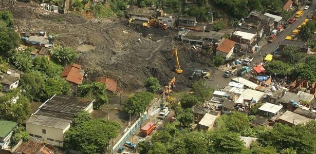 Imagem aérea mostra a destruição no morro do Bumba, em Niterói; veja imagens