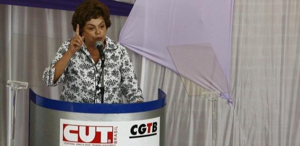 A pré-candidata do PT, Dilma Rousseff, durante seu discurso em São Bernardo do Campo (SP)