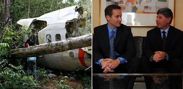 Destroços do avião da Gol e os pilotos norte-americanos Jan Paladino (esq) e Joe Lapore (dir)