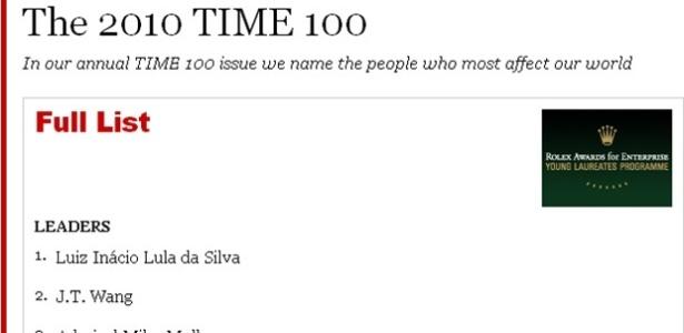 """""""Time"""" divulga lista enumerada de líderes e diz mais tarde que numeração """"não é ranking"""""""