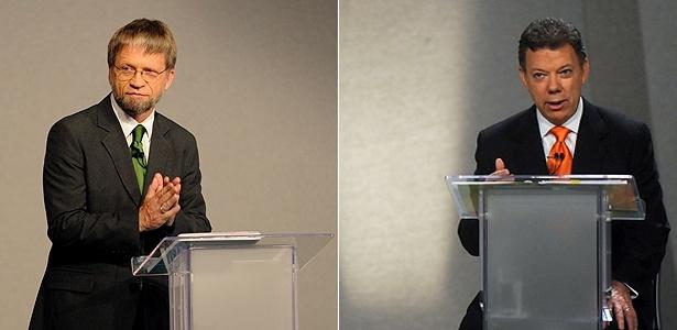 Os candidatos colombianos à presidência Antanas Mockus (à esquerda), do Partido Verde, e Juan Manuel Santos, do Partido de La U, durante debate
