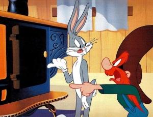 O personagem de desenho animado Pernalonga (esquerda)