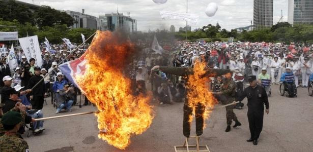Seul viveu mais uma manhã de protesto devido à tensão entre as Coreias;<b> veja mais fotos</b>
