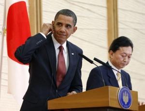 O presidente norte-americano, Barack Obama, ao lado do primeiro-ministro japonês Yukio Hatoyama durante uma entrevista coletiva em Tóquio, no Japão