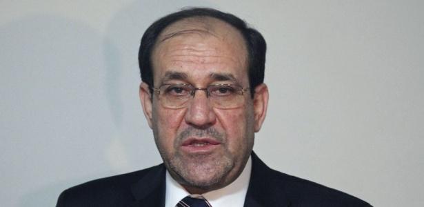 O primeiro-ministro do Iraque, Nouri al-Maliki, durante entrevista coletiva na cidade de Najaf, no Iraque. Ele afirma que é o único nome indicado pelo seu partido para fazer parte do próximo governo