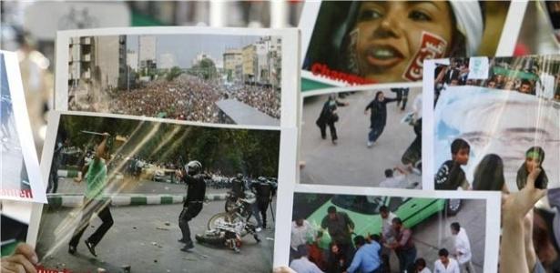 Manifestantes exibem imagens dos protestes em Teerã e denunciam a repressão do governo do país contra opositores ao regime do presidente Ahmadinejad, em Teerã