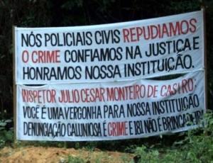 Faixa é colocada em sítio alugado por Marcos Aparecido dos Santos, o Bola, acusado de estrangular Eliza