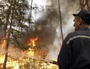 Bombeiro russo tenta impedir o avanço do fogo sobre a aldeia de Murmino. Segundo ambientalistas, o fogo pode favorecer a diversidade