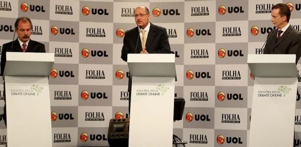 Mercadante (PT), Alckmin (PSDB) e Russomanno (PP) no debate Folha/UOL