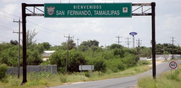 Entrada da cidade de San Fernando, onde a chacina aconteceu; quatro brasileiros entre os mortos