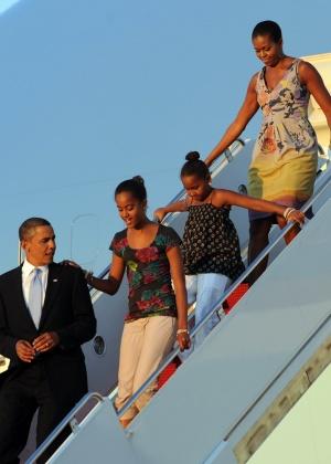Obama e sua família chegaram em Washington no domingo (29) após passarem as férias em Martha's Vineyard, no Estado de Massachusetts