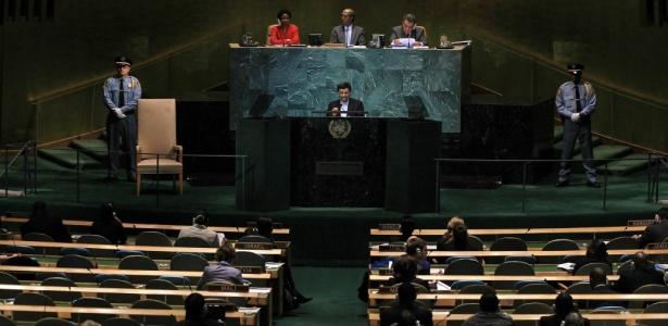 Presidente do Irã, Mahmoud Ahmadinejad, discursa na Assembleia Geral da ONU, em Nova York - Chris McGrath/Getty Images/AFP