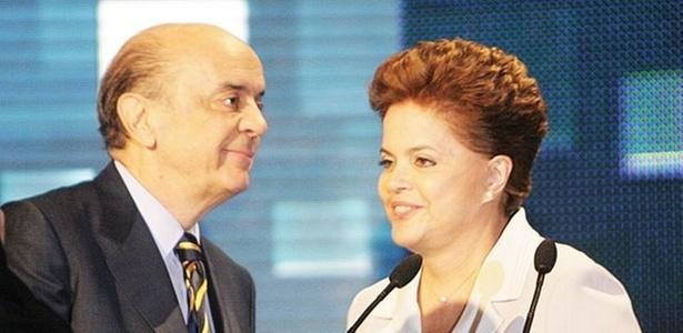 José Serra e Dilma Rousseff durante debate na Band no dia 10, o primeiro do 2º turno