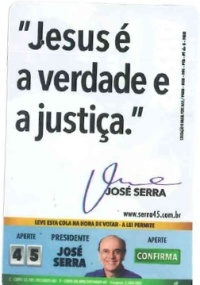 Santinho distribuído pela campanha de José Serra (PSDB)