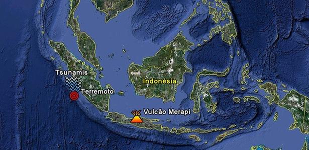 Mapa da Indonésia indica localização aproximada das tragédias naturais que atingiram o arquipélago