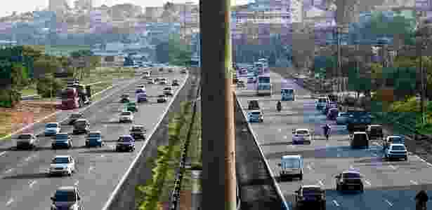 Trânsito intenso na rodovia dos Imigrantes no sentido litoral, na altura do km 12, na saída para o feriado de Finados; VEJA MAIS FOTOS - Alessandro Shinoda/Folhapress
