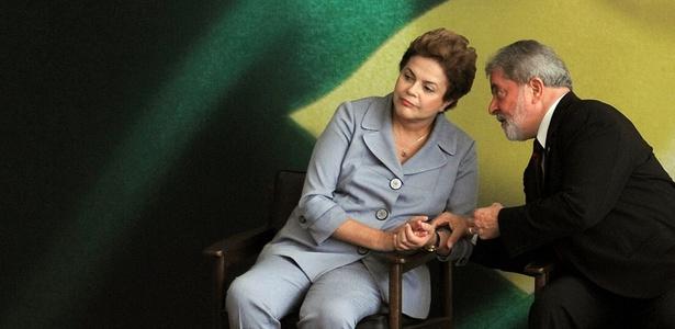 O presidente Lula conversa com a presidente eleita, Dilma Rousseff, durante balanço de seu governo