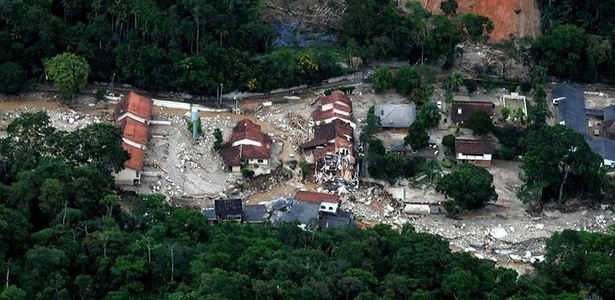 Vista aérea de Teresópolis, uma das cidades atingidas pelas fortes chuvas na região serrana do Rio de Janeiro