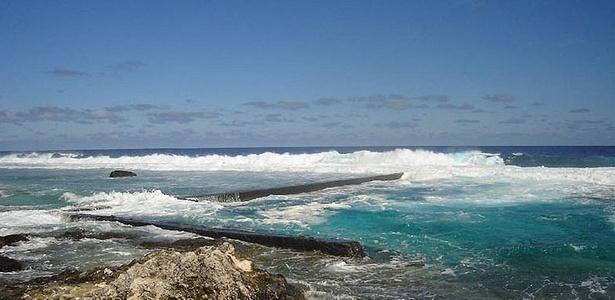 VIsta do atol de Tureia, na Polinésia Francesa