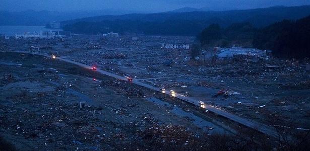 Área devastada pelo terremoto em Minamisanriku, nordeste do Japão