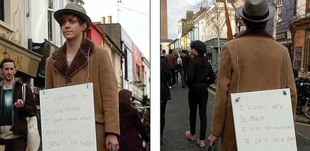 Após Trair A Mulher, Rapaz Pendura Cartaz No Corpo E Fica