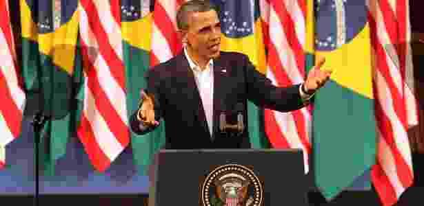 Barack Obama faz discurso no Theatro Municipal, no Rio de Janeiro - Júlio César Guimarães/UOL