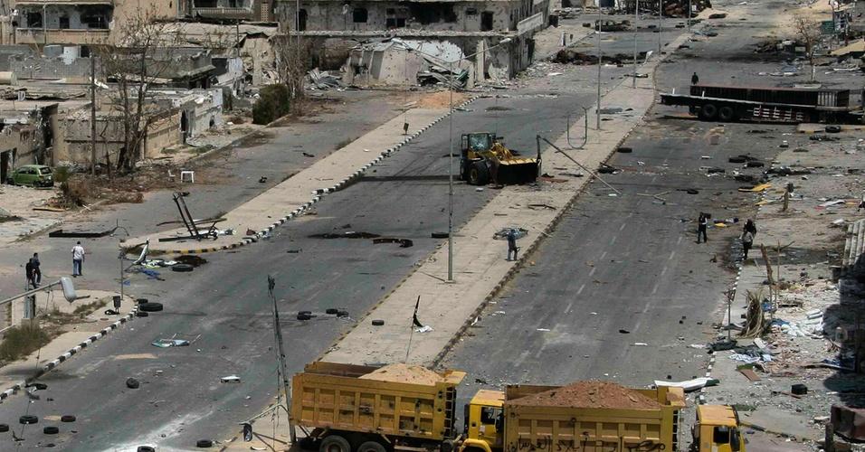 Vista aérea da cidade de Misrata, na Líbia, após confronto entre rebeldes e as forças armadas do líder Muammar Gaddafi