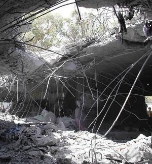 Foto deste domingo (1º de maio) mostra casa da família Gaddafi destruída em ataque da Otan