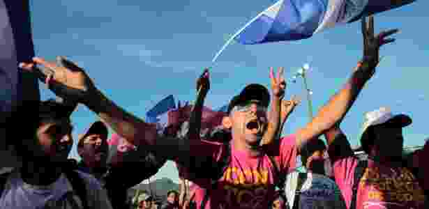Simpatizantes do presidente da Nicarágua, Daniel Ortega, candidato à reeleição pela Frente Sandinista, participam de comício - Oswaldo Rivas/Reuters