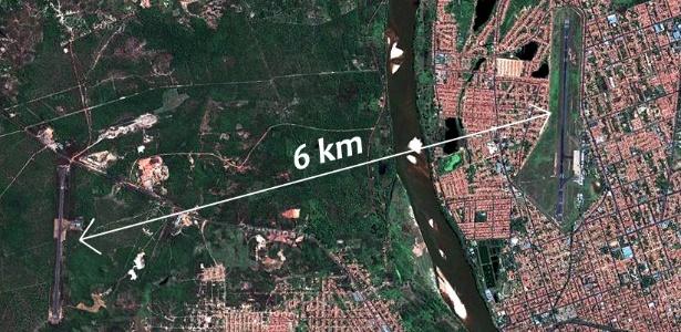 Seis quilômetros separam aeroporto particular do Maranhão (esq.) e aeroporto de Teresina, no Piauí - Reprodução/Google