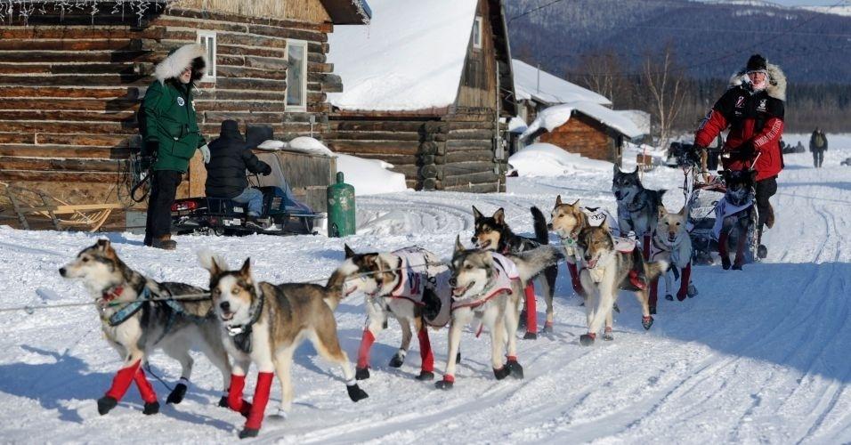 Homem em trenó é puxado por cães em trilha de Iditarod, nos EUA
