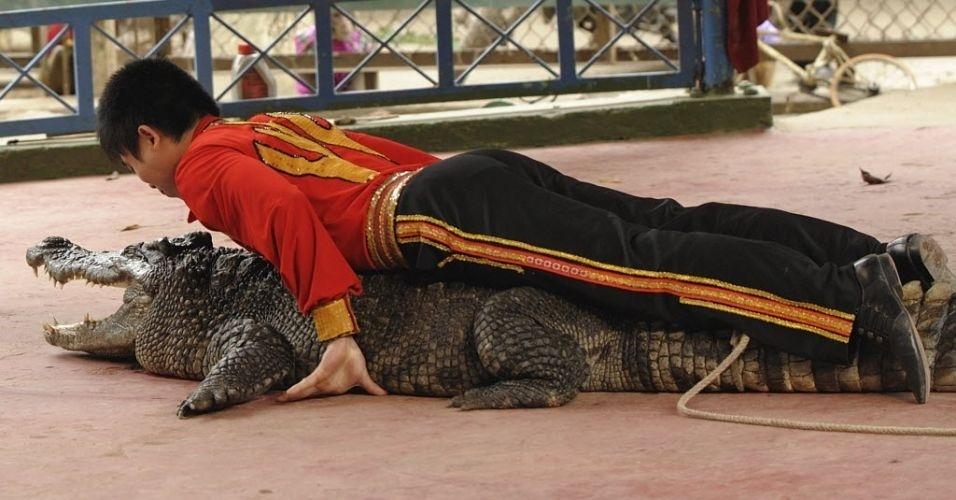 Homem realiza performance em cima de crocodilo em Hanói, no Vietnã