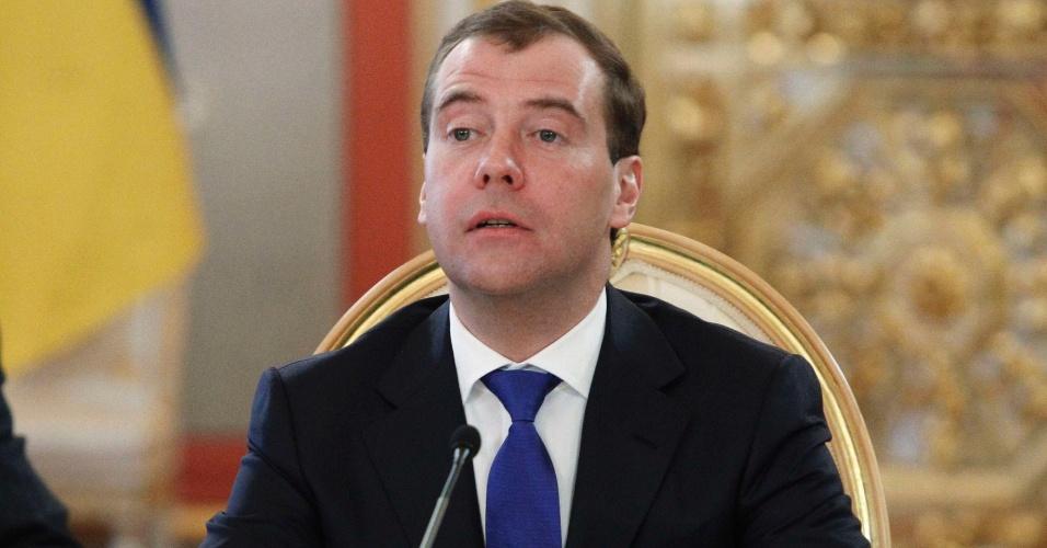 O presidente russo, Dimitri Medvedev, participa de conferência da Eurásia em Moscou, na Rússia
