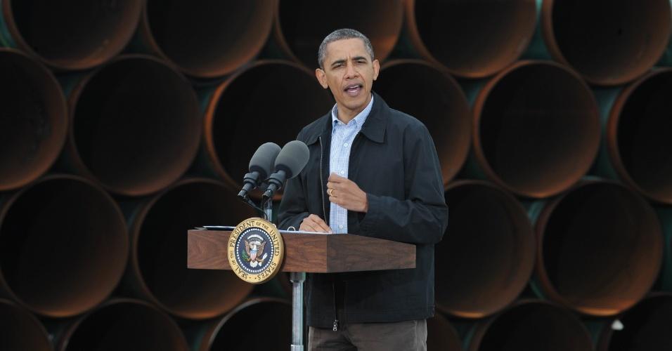 Presidente dos Estados Unidos, Barack Obama, discursa em Cushing, Oklahoma, sobre energia