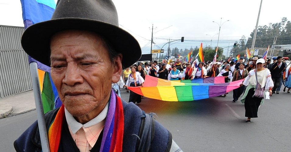 Protesto de indígenas no Equador