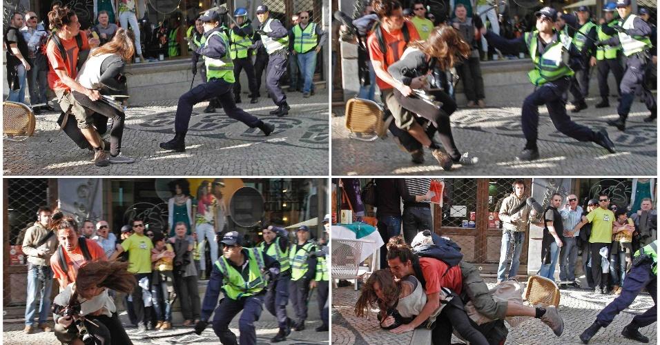 Montagem fotográfica desta sexta-feira (23) mostra agressão policial contra fotógrafa da agência AFP Patrícia Melo durante greve geral em Portugal