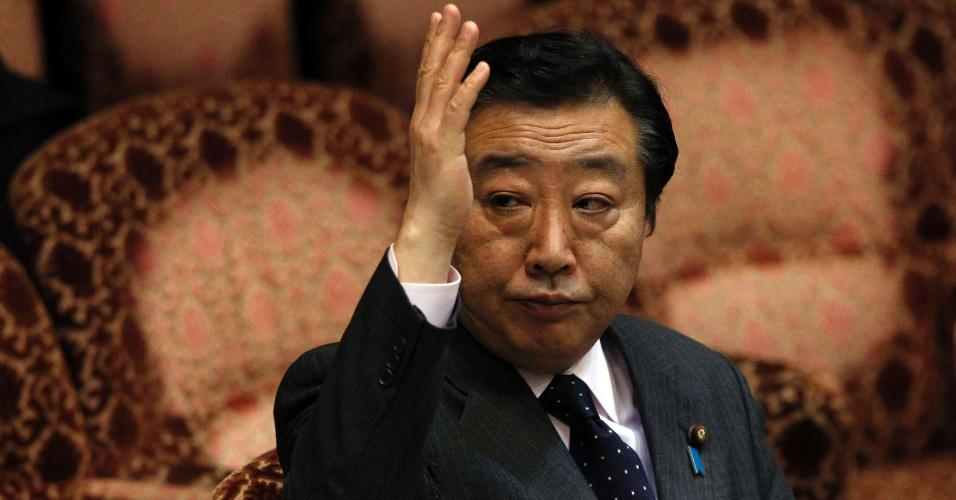 O primeiro-ministro do Japão, Yoshihiko Noda, participa de sessão do Comitê de Orçamento da Câmara Baixa, nesta sexta-feira (23)