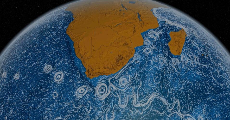 A imagem obtida por um telescópio da Nasa (agência espacial americana) mostra as correntes oceânicas, registradas de 2005 a 2007, no sul da África
