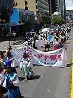 Manifeztação no centro de Quito