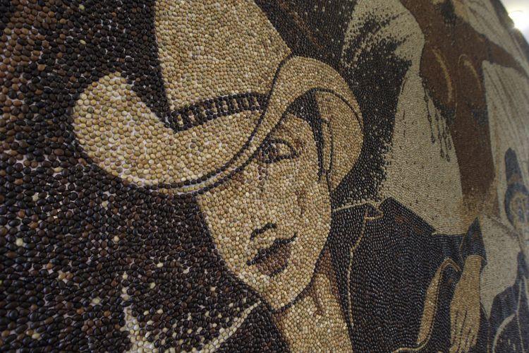 Mosaico com grãos de café
