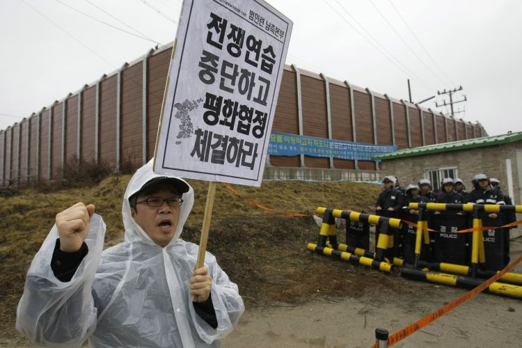 Protesto na Coreia do Sul