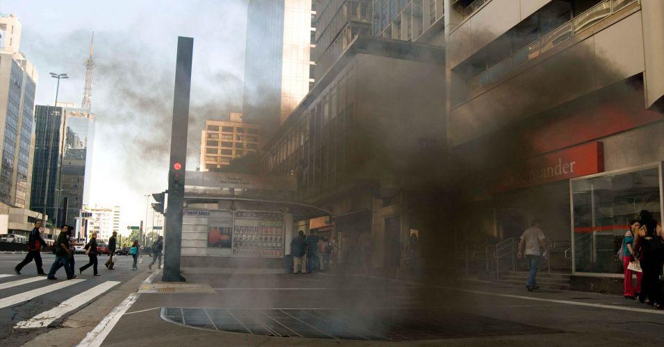 Fumaça na avenida Paulista