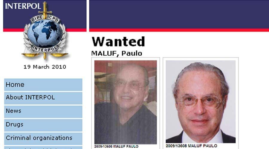 Maluf procurado pela Interpol