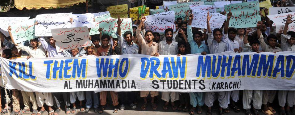 Protesto contra caricatura de Maomé no Facebook