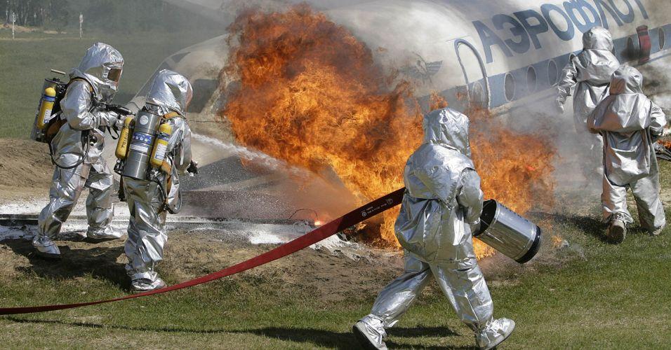 Treinamento contra incêndio na Rússia