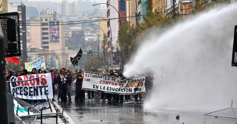 Chilenos são dispersados com água
