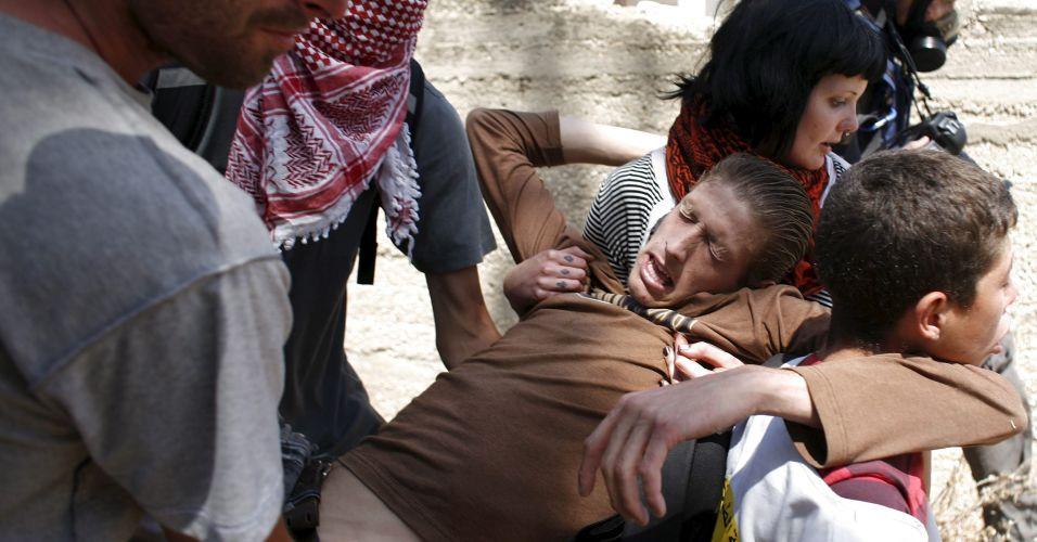 Palestino ferido durante protesto