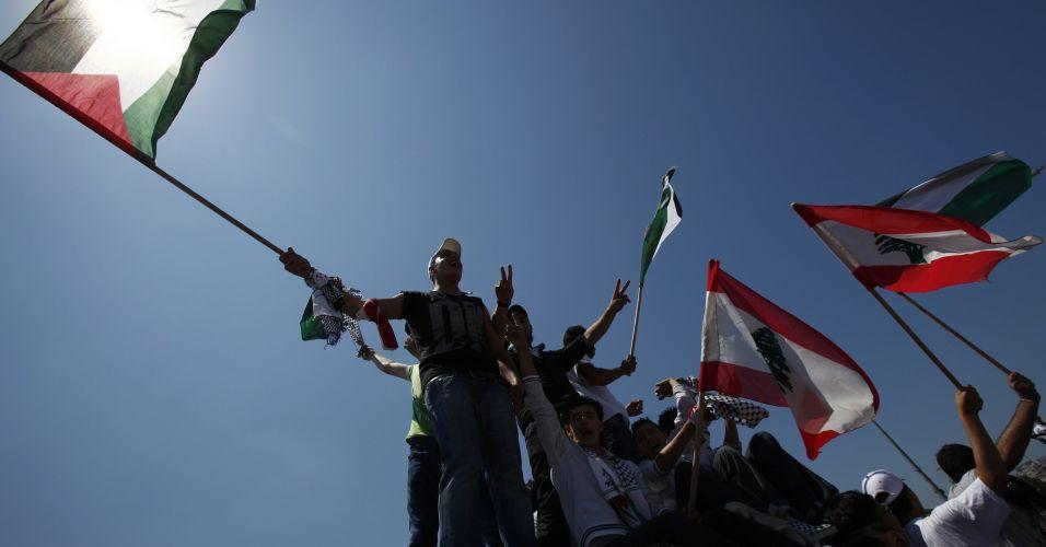 Palestino protestam no Líbano