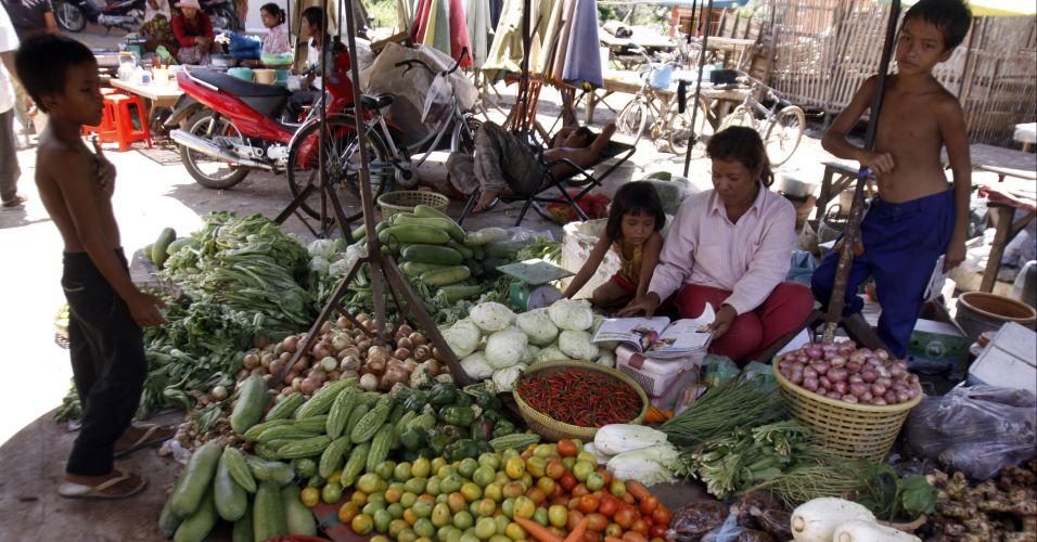 Vendedor no Camboja