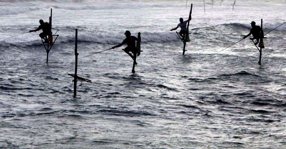 Pescadores no Sri Lanka